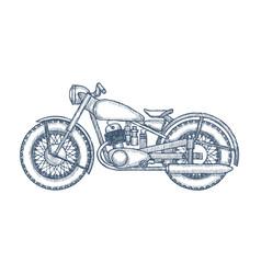 Hand drawn vintage motorcycle logo design vector