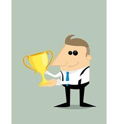 Happy Cartoon businessman with trophy vector image