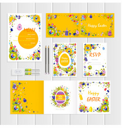 happy easter mockup with colored eggs vector image