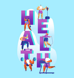 healthy lifestyle sport banner cardio gym training vector image