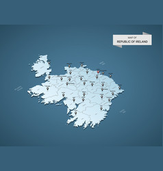 isometric 3d republic of ireland map concept vector image