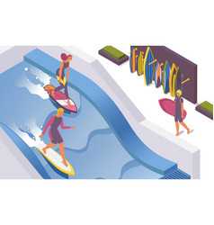 Isometric surf wave pools at hotel water park vector
