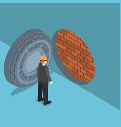 Isometric thief with vault door with brick wall vector