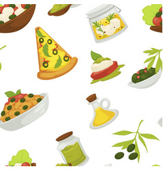 italian pizza slices traditional meal dish of vector image