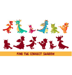Kid dragon find correct shadow game cartoon vector