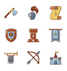 knightly icons set cartoon style vector image