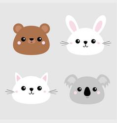 koala bear grizzly rabbit hare cat kitten head vector image