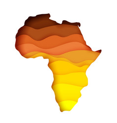 Layered paper cut style map africa vector