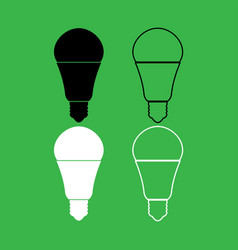 led lightbulb icon black and white color set vector image