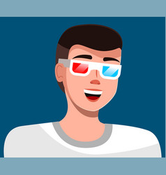 Man in magic glasses avatar isolated on blue vector