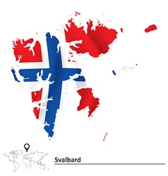 Map of Svalbard with flag vector