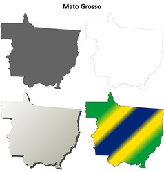 Mato Grosso blank outline map set vector image