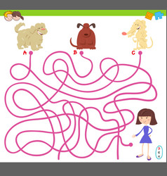 Maze game with cartoon dogs and cute girl vector