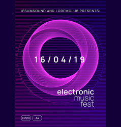 neon club flyer electro dance music trance party vector image