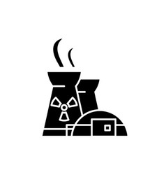 nuclear power plant black icon sign on vector image