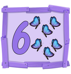 Number six on wooden banner vector