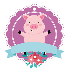 Pig with ribbon vector