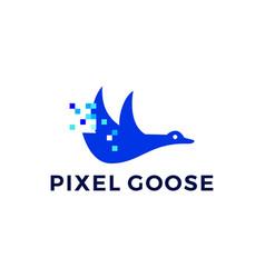 pixel goose technology digital logo icon vector image