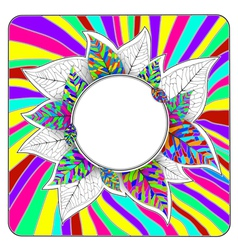 Rainbow Bright Leaves Abstract Round Frame vector