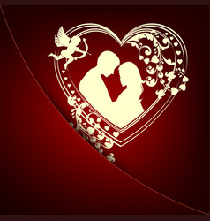 Red background with a loving couple in the heart vector