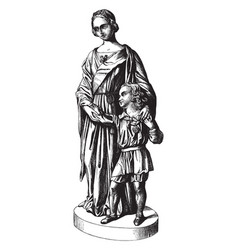 Sculpture depicts the queen and the prince of vector