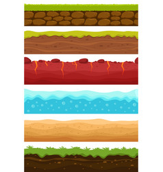 seamless grounds soils water and land levels vector image