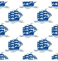 seamless pattern a sailing ships vector image