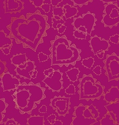Seamless pattern of gold lacy hearts vector