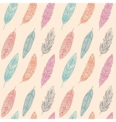 Seamless Pattern with Ethnic Feathers vector