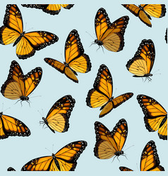 seamless patterns with monarch butterflies vector image