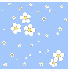 Seamless white floral pattern on a blue background vector image