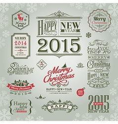 set christmas and new year design elements vector image