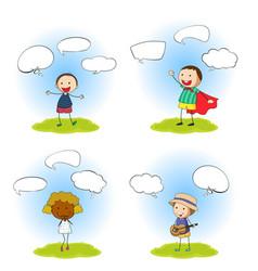 set kids with speech bubbles vector image