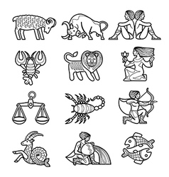 Set of black linear zodiacal signs vector image