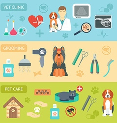 Set of horizontal banners Pet care Vet clinic vector