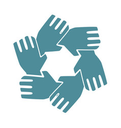 silhouette hands teamwork icon design vector image