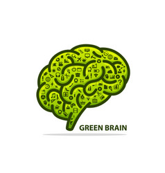 silhouette of the brain green with icons vector image