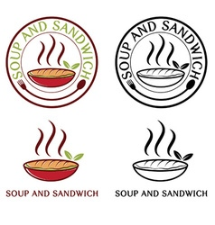 soup and sandwich labels set vector image