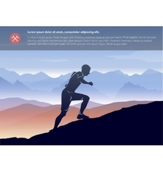 Sport running man in cross mountain landscape vector image