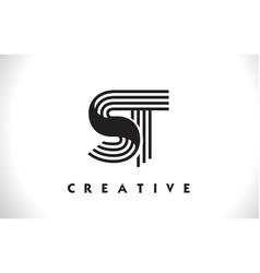 st logo letter with black lines design line letter vector image
