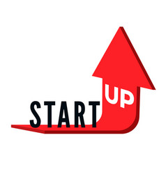 start up business concept text start up on red vector image