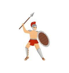 strong legionary in red loincloth steel helmet vector image