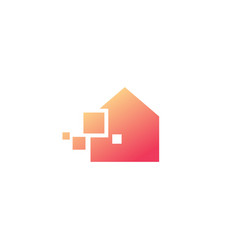 tech pixel smart house logo icon vector image