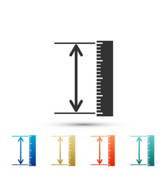 The measuring height and length icon isolated vector