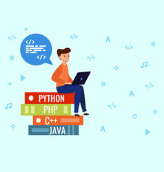 the programmer sits on a stack books thinking vector image