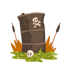 Toxic waste barrel and human skull ecological vector