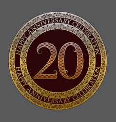 twentieth happy anniversary celebration symbol vector image