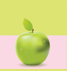 two colored background with green apple vector image