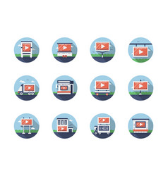 Video marketing flat round icons set vector