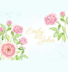 Watercolor pink rose flower branch bouquet vector